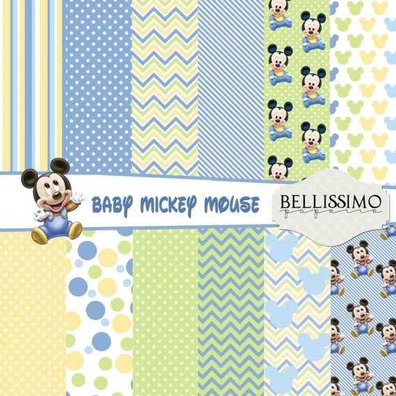 """Baby Mickey Mouse : Scrapbook Paper,12""""x12"""", Digital Paper, 12 Papers, Blue"""