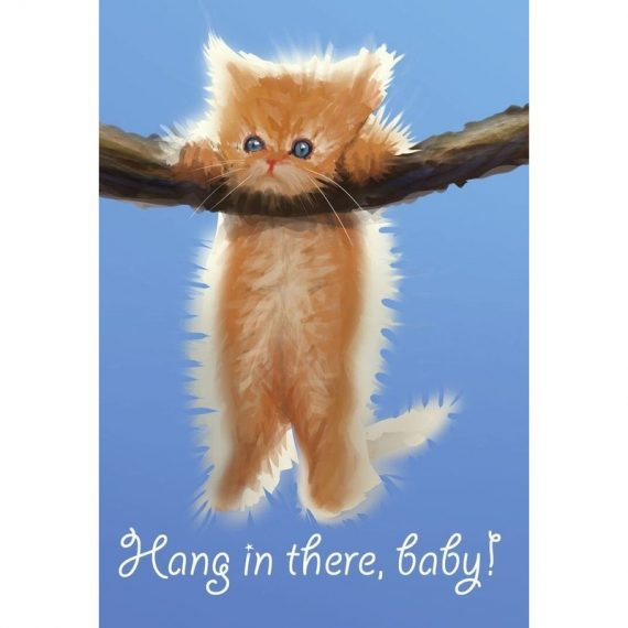 """CAT """"Hang In There Baby"""" Image Inspirational Poster Gloss Print Laminated 32x24 D00012"""