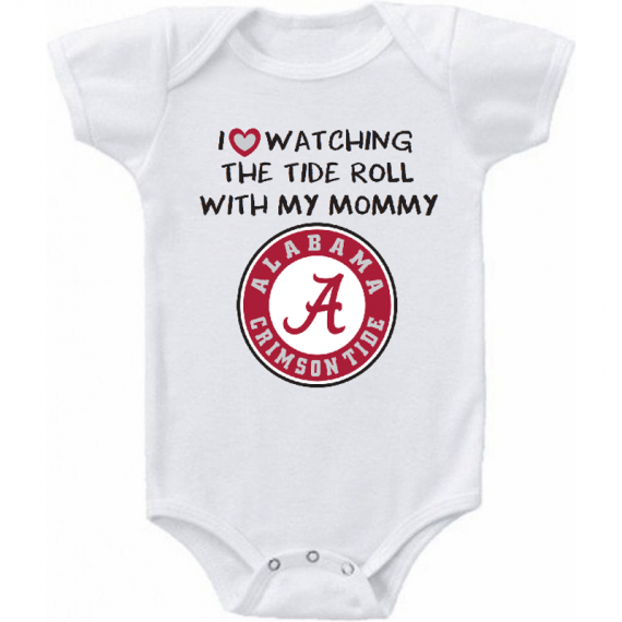 Alabama Crimson Tide Love Watching With Mommy Baby Onesie or Tee