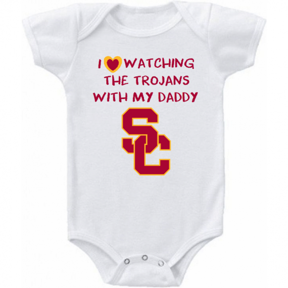 USC Trojans I Love Watching With Daddy Baby Onesie or T-shirt Letters Logo