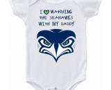 Seattle Seahawks New Logo I Love Watching With Daddy Baby Onesie or T-shirt