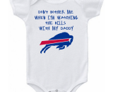Buffalo Bills Don't Bother Me Watching With Daddy Baby Onesie or Tee Heart