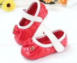 Baby Girls Leather Walking Shoes Newborn Toddler Shoes Red Dress Shoes 0983