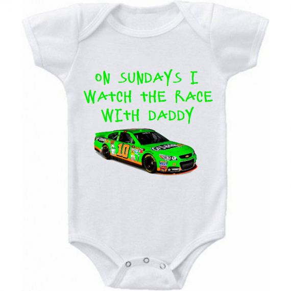 Danicka Patrick Watching With Daddy Nascar Baby Onesie or Tee Shirt