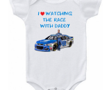 Nascar Dale Earnhardt Jr Watching The Race With Daddy Baby Onesie or T-shirt
