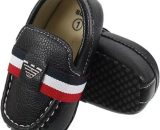 Newborn Black Soft Toddler Shoes Leather Black Baby Dress Shoes A5559