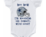 Watching With Daddy Dallas Cowboys Baby Onesie or Tee Shirt
